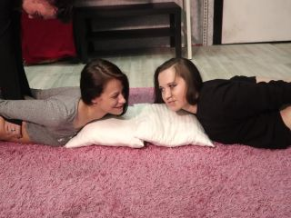 Sweet girls in Hogtied - Begin topless and Belly torture