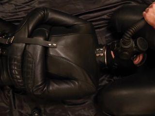 Breath play in a straitjacket and gasmask - Pornhu