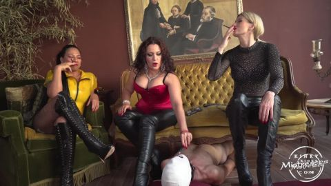 Domina Scarlet, Mistress Saint Lawrence, Mistress Luna starring in video (The Human Ashtray For 3 Ladies)  of (Kinky Mistresses) studio [HD 720P]