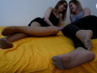Two Foot Girls Smelling Their Feet In Pantyhose