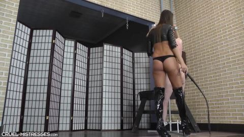 Mistress Amanda starring in video (Hard strokes with a long whip) of (CRUEL MISTRESSES) studio [HD 720P]