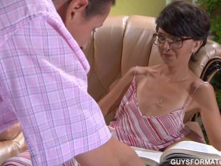 Porn Skinny mature in white lingerie fucks with his foreman