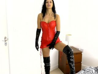 Smoking Hot Smokejob In Red Leather And Gloves 2 – Cassie Clarke – HandJob