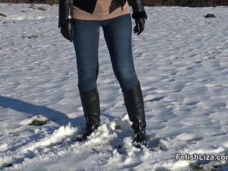 Fetish Liza – Snow and muddy boot licker – Female Domination, Bootlicking, femdom bound on femdom porn