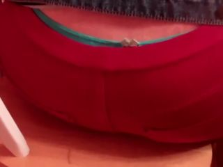Blonde bbw wife farts in red pants