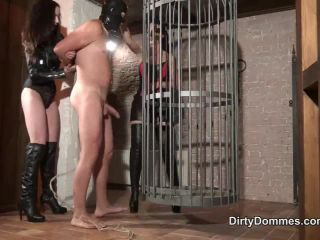 Dirty Dommes – CAGED AND TEASED BOOT SLAVE PART 1 – Fetish Liza and Lad… | handjob and milking | handjob