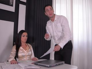 Babe in Handcuffs Double Penetrated in Office