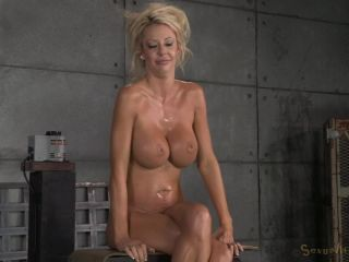 Sexy huge breasted CourtneyTaylor bound onto fuckingmachine, pounded hard withbrutal deepthroat!
