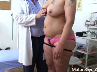 Kinky gynecologist records his mature chubby female patient on hidden cam
