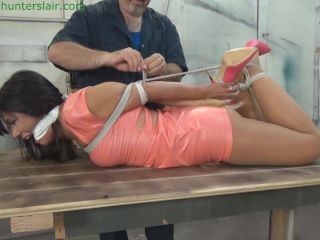 Hunters lair bondage - Cranked into a back arching breast bound hogtie (MP4 3500kbps)