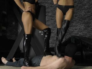 Trample – CRUEL MISTRESSES – Four boots on his body – Mistress Amanda and Mistress Ariel