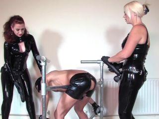 Strapon – Mistress Lady Renee – Latex spit roast – Mistress Heather Divine and Lady Renee