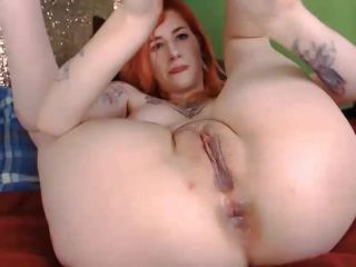 Tattooed redhead girl dildo anal and vaginal sex