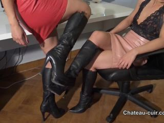 Porn online Chateau-Cuir – Lesbian sex in leather skirts part 1. Starring Nomi Melone and a… femdom