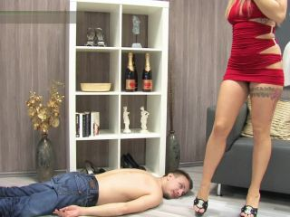 lady sue  this slave gets some tough trampling!  barefeet