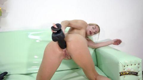 Large dildo deep in a tight ass of italian milf Lara De Santis