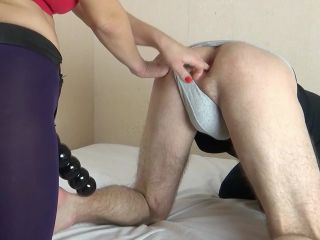 Homemade hard pegging by a large strapon