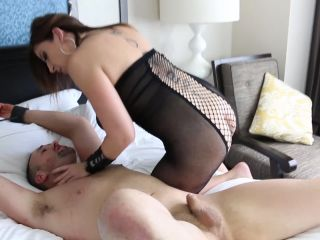 Naughty milf Sara hard pounds her slave's asshole