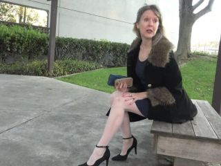 Sexy mature lady in high heels and panty playing with her pussy and a vibrator