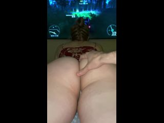 Girl gamer tries to play while getting fucked   POV