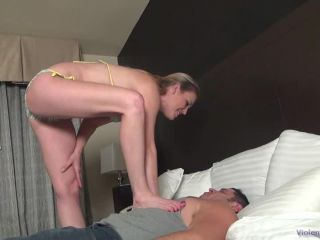 Beautiful Daisy Layne is having fun with her new sub by trampling and ...