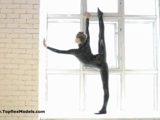 Latex catsuit flexible contortion