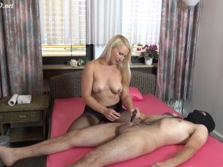 Stocking pantyhose footjob and cumshot — Gina Blonde