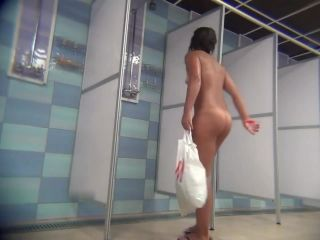 Nice body tanned girl in the shower after a workout. hidden cam