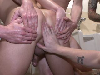 Bathroom whore stuffed full of cock and covered in cum - Kink  June 27, 2014
