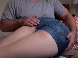 Get Those Naughty Shorts Down ! Over Masters Knee for a Bare Bottom Bl ...