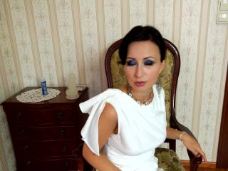 White dress and blue nylons in the action