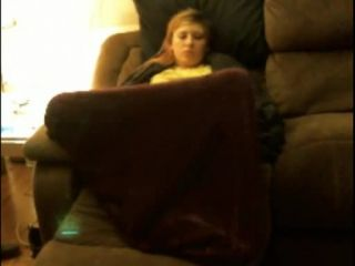 Horny blonde girl fingering pussy under cover. hidden cam