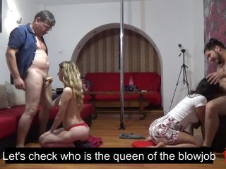 BLOWJOB CONTEST - Who is sucking better, the blonde or the brunette?