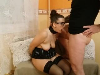 Handcuffed and rough fucked submissive slave with glasses