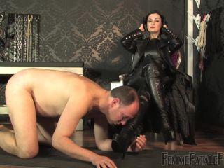 Online femdom video Femme Fatale Films - Lady Victoria Valente - Leather Licking Loser  Part 1-2