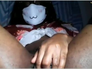 Ebony girl with huge clit dildoing pussy on webcam