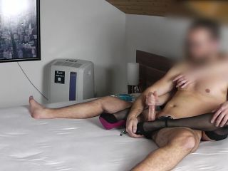 RUB HIS DICK WITH HIGH HEELS AND NYLON STOCKINGS FEET & TOES