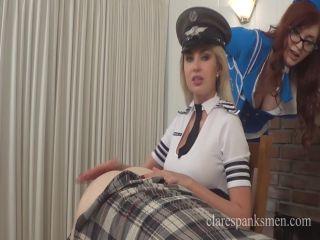 Female Domination – Clare Spanks Men – Pilot Gigi Spanks Flight Attendant