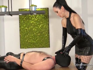 Milked and bound latex glove slave
