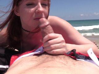 manyvids presents Allysa Amour – Public Beach Double Blowjob