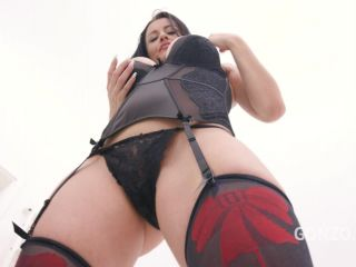 Bianka Blue giant red dildo sex and peeing domination