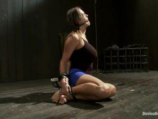 Upside down big-titty pain slut gets machine fucked and throat fucked ...