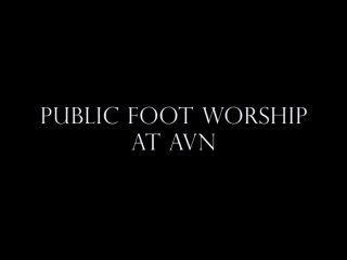 Shoe Worship – Goddess Alexandra Snow – Public Foot Worship at AVN