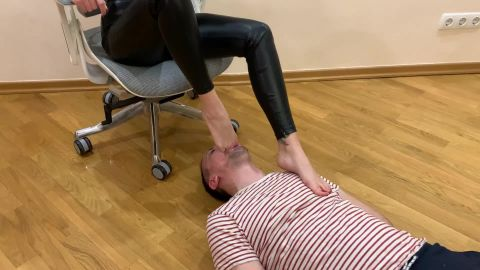 Petite Princess Femdom - Chic Mistress Sofi In Leather Pants And High Heels - Heels Sucking And Foot Gagging Femdom [FullHD 1080P]