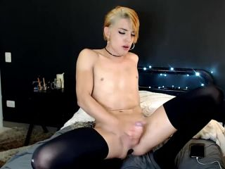 Young and sexy femboy stroking and cumming on cam