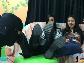 girlsfetishbrazil  loser being humiliated by two queens  male foot