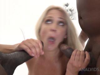 Sexy busty MILF Caroline De Jaie dildo fuck to gape anal