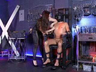 Leather Fetish – Goddess Alexandra Snow – Clamped Tits