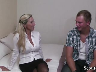 German milf hooker teach virgin guy how to fuck