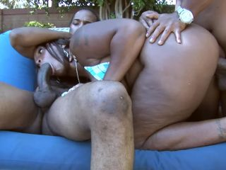 Simply Gangbang with two Big Black Cocks and a Face Full of CUM